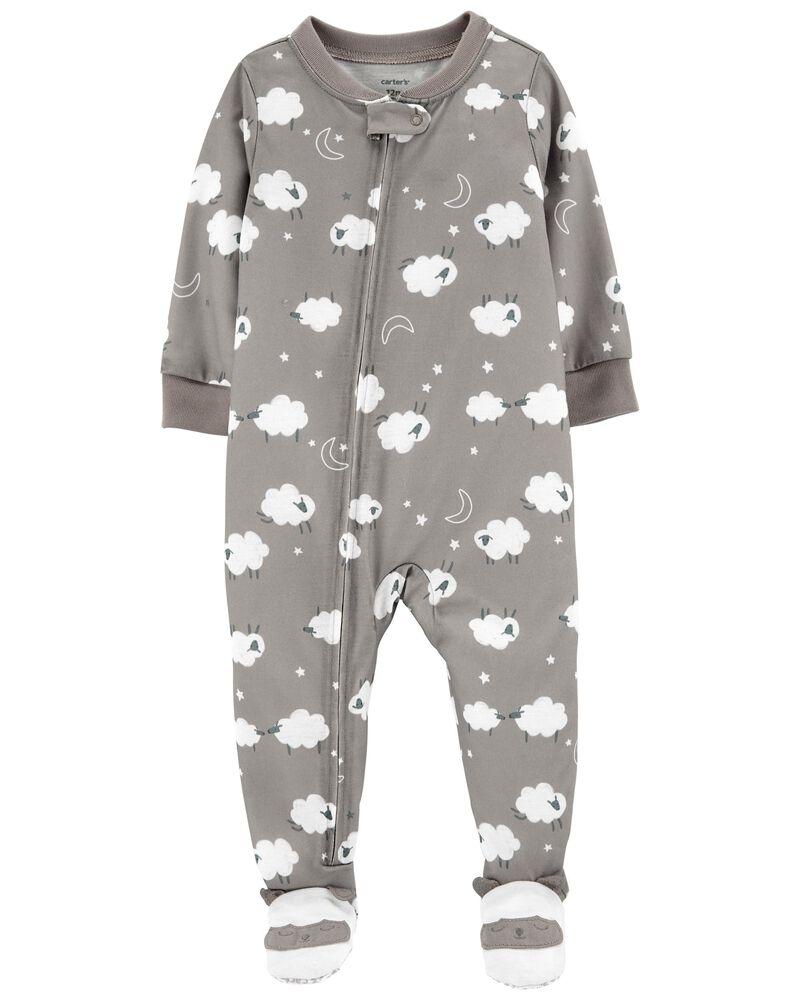 Pyjama 1 pièce de coupe ample à pieds motif mouton, , hi-res