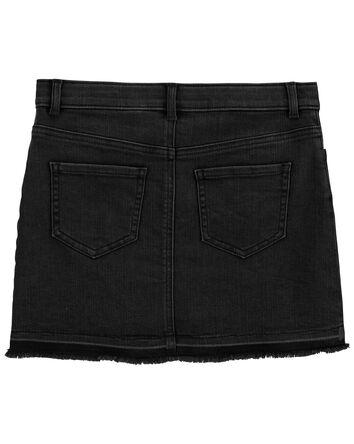 Stretch Denim Skirt in Black Enzyme...