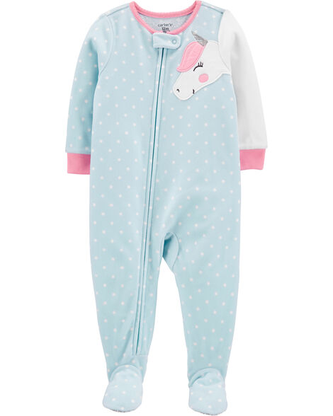 1-Piece Unicorn Fleece Footie PJs