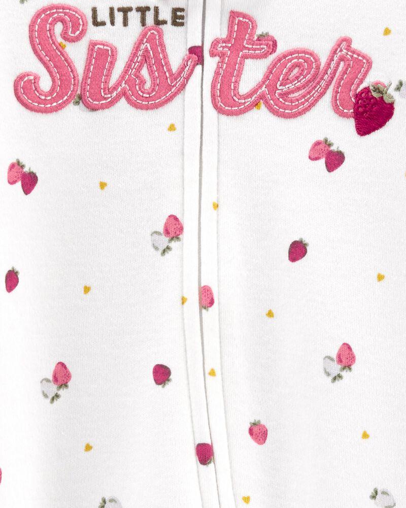 Grenouillère en coton pour dormir et jouer avec glissière 2 sens Petite sœur, , hi-res