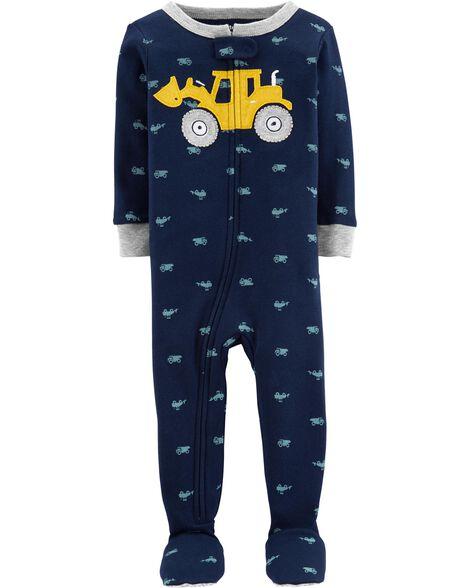 Pyjama 1 pièce à pieds en coton ajusté construction