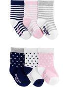 6-Pack Patterned Crew Socks, , hi-res