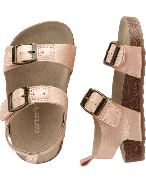 Rose Gold Buckle Cork Sandals