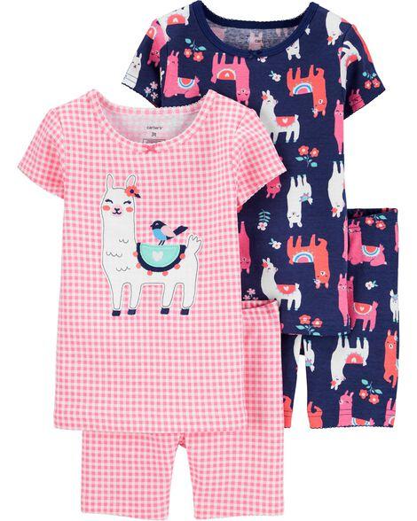 4-Piece Llama Snug Fit Cotton PJs