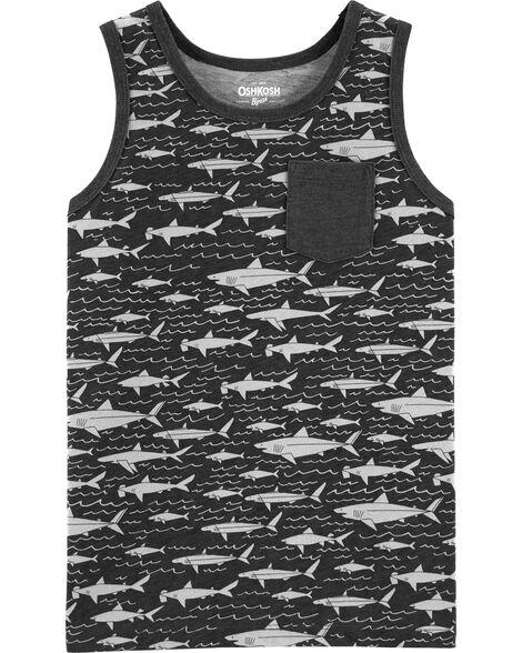 Débardeur à imprimé requin avec poche