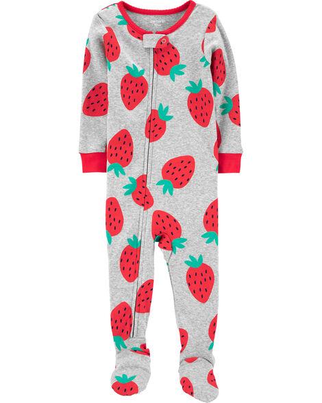 Pyjama 1 pièce avec pieds en coton ajusté motif fraise
