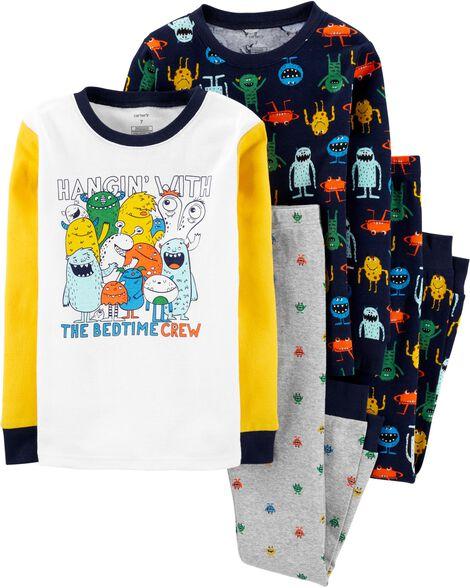 4-Piece Monster Snug Fit Cotton PJs