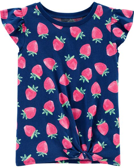 Strawberry Tie-Front Jersey Tee