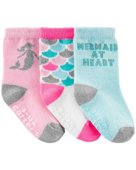 3 paires de chaussettes mi-mollet à sirène
