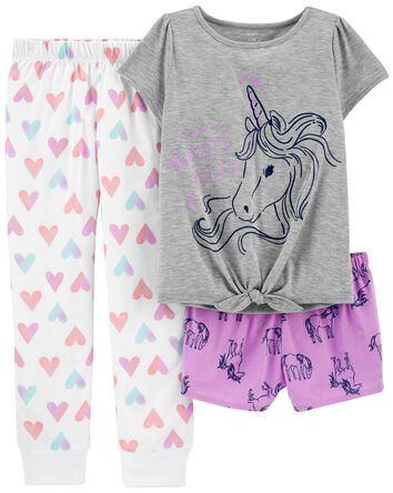 3-Piece Unicorn Loose Fit PJs