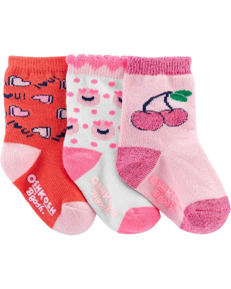 3 paires de chaussettes mi-mollet à cœurs, , hi-res