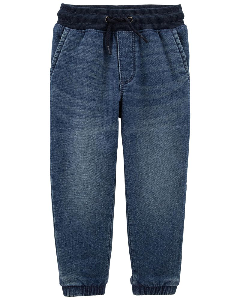 Pull-On Knit Denim Joggers, , hi-res