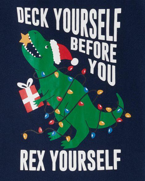 2-Piece Christmas Dinosaur Snug Fit Cotton PJs