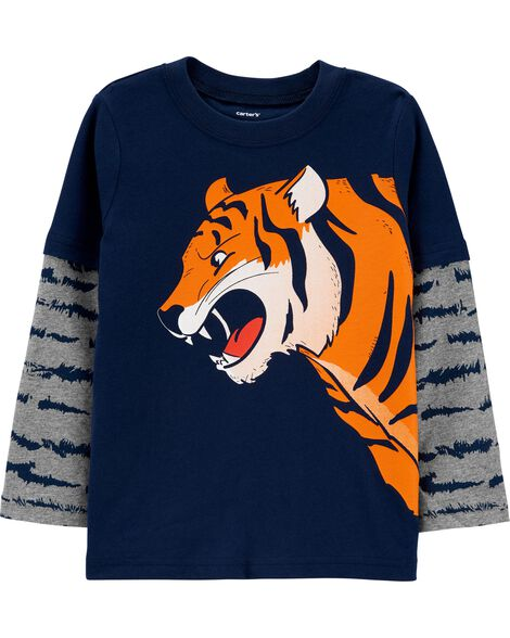 T-shirt en jersey de style superposé à tigre