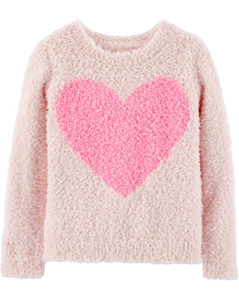 OshKosh Toddler Girls Contrast Color Striped Heart Sweater Pullover 3T 4T NWT