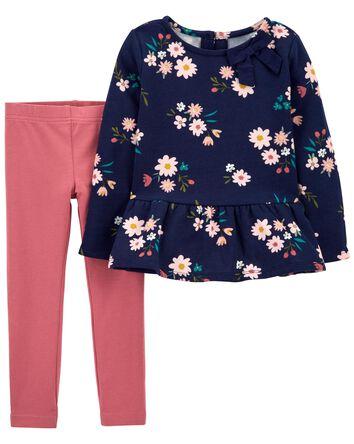 2-Piece Floral Fleece Top & Legging...