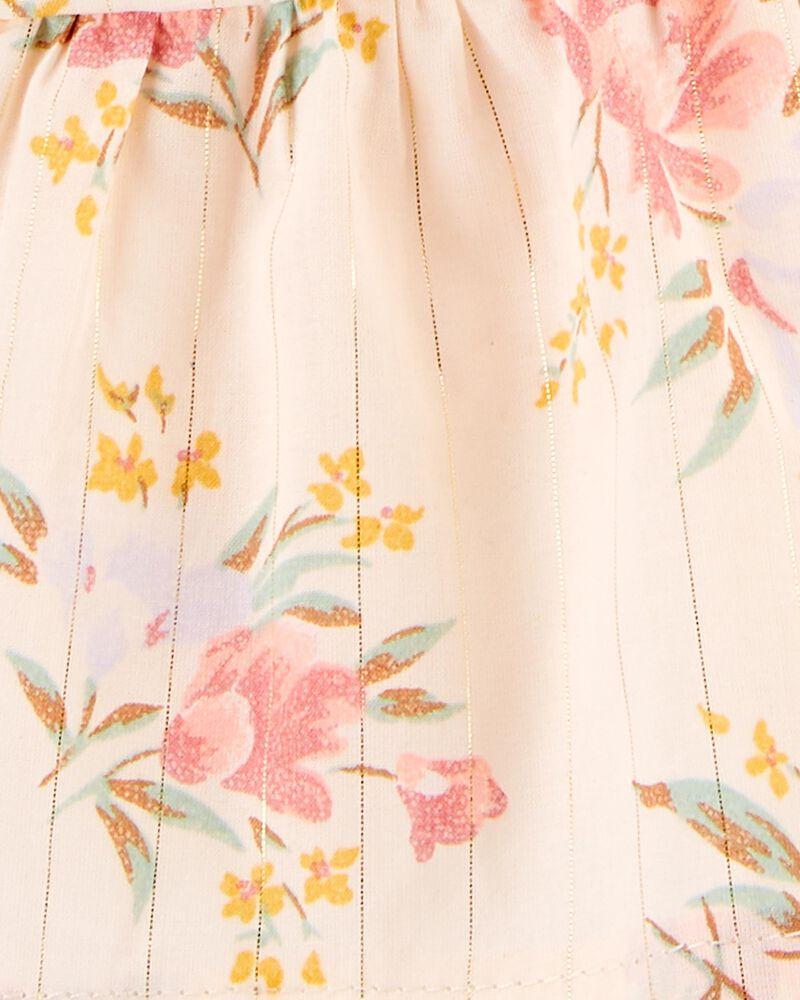 Robe chasuble fleurie métallique, , hi-res
