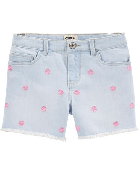 Short en denim extensible à motif de coquillages