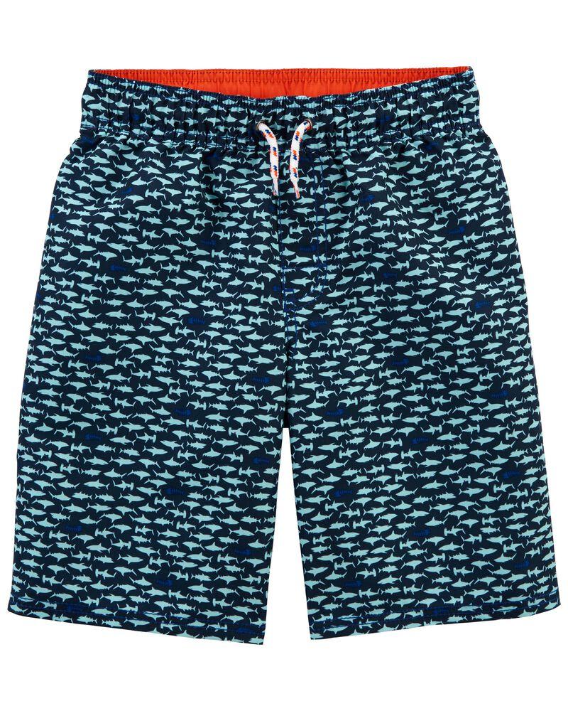 Shark Print Swim Trunks, , hi-res