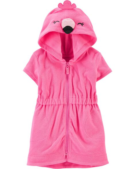 Hooded Flamingo Swim Cover-Up