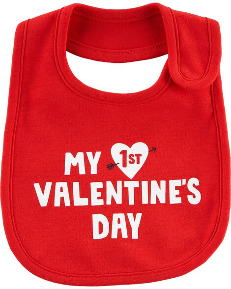 1st Valentine's Day Teething Bib