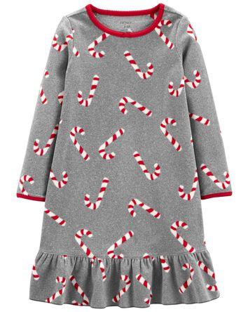 Candy Cane Fleece Nightgown