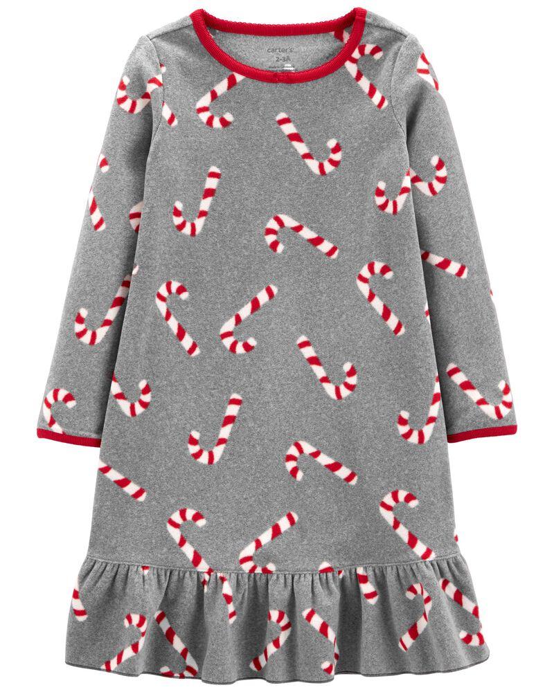 Candy Cane Fleece Nightgown, , hi-res