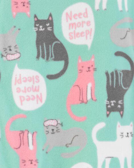 1-Piece Cat Fleece Footie PJs