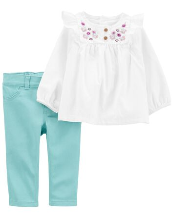 2-Piece Peasant Top & Twill Pant Se...