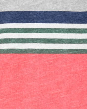 Striped Piqué Slub Henley