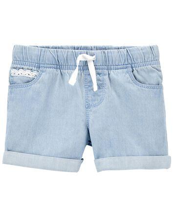 Pull-On Denim Shorts