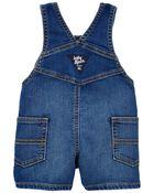 Salopette courte en tricot de denim à délavage Derby, , hi-res
