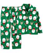 2-Piece Holiday Coat-Style Fleece PJs, , hi-res