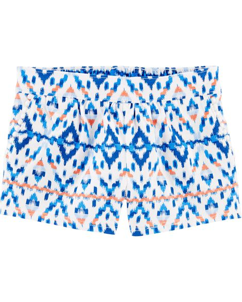 Ikat Pom Pocket Pull-On Shorts