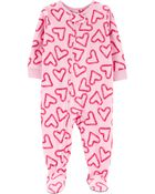 Pyjama 1 pièce en molleton motif cœur, , hi-res