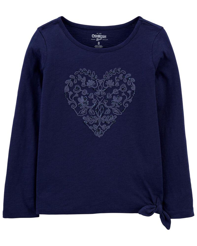 Tie-Hem Sparkle Heart Top, , hi-res
