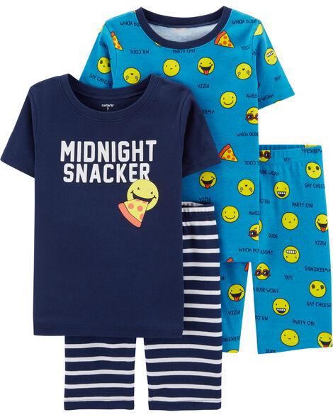 Pyjamas 4 pièces en coton ajusté à émojis