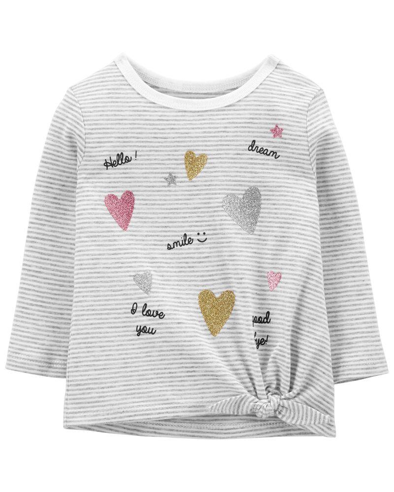 T-shirt en jersey à rayures et nœud devant, , hi-res