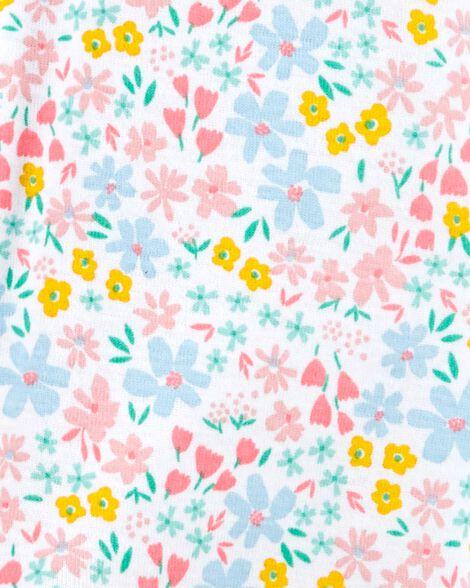 1-Piece Floral Snug Fit Cotton Footie PJs