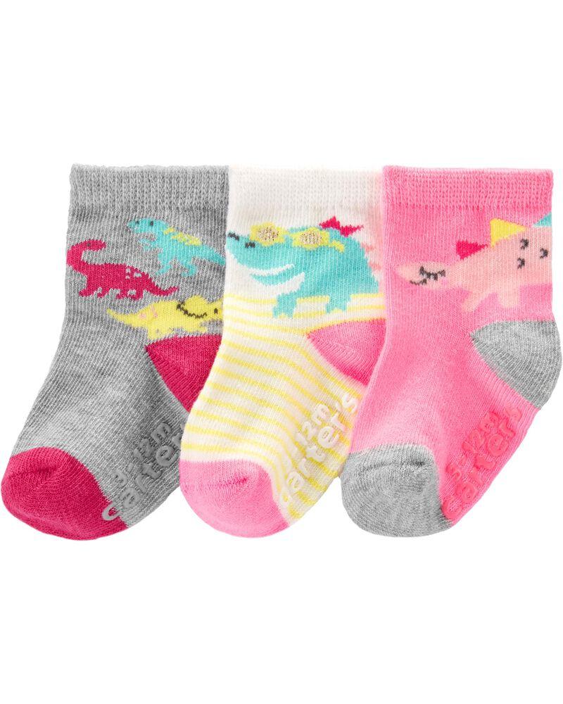 3 paires de chaussettes mi-mollet à dinosaure, , hi-res