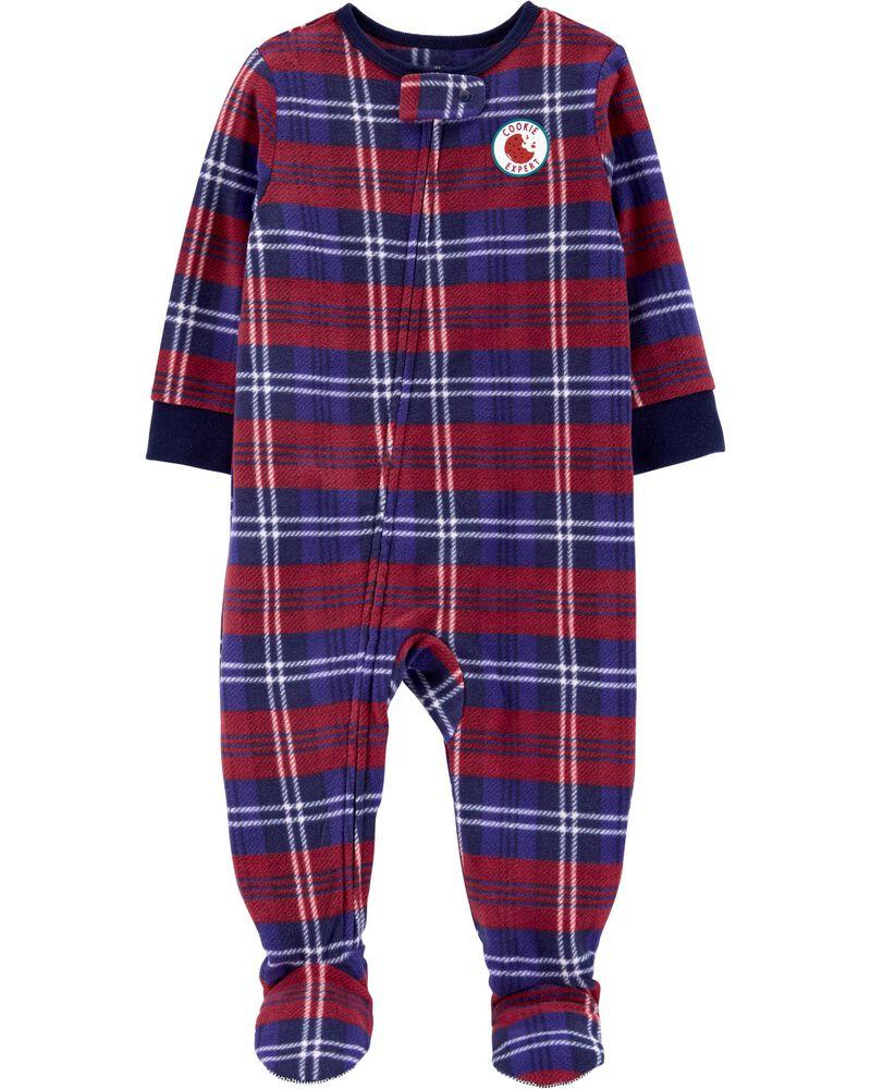Pyjama 1 pièce en molleton à motif écossais, , hi-res