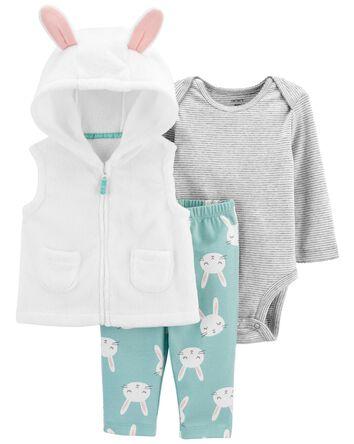 3-Piece Bunny Little Vest Set