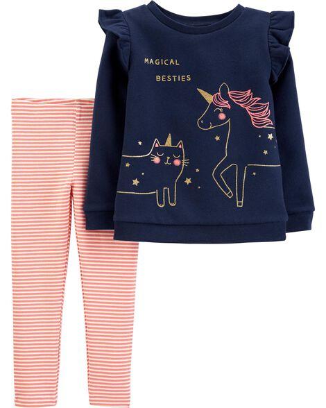 2-Piece Unicorn Fleece Top & Striped Legging Set