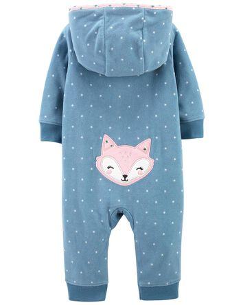 Fox Zip-Up Fleece Jumpsuit