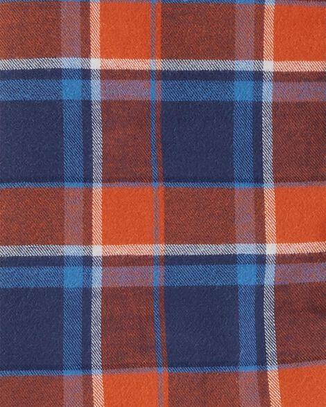 2-Piece Plaid Button-Front Top & Khaki Pant Set