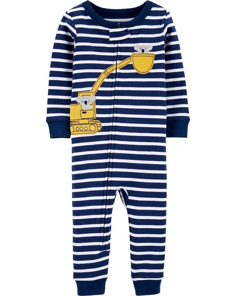 Pyjama 1 pièce en coton ajusté à motif construction, , hi-res