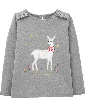 T-shirt en jersey à renne des Fêtes
