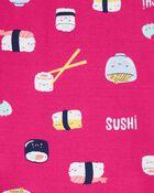 Pyjama 4 pièces en coton ajusté à sushi, , hi-res