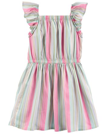 Rainbow Stripe Ruffle Dress