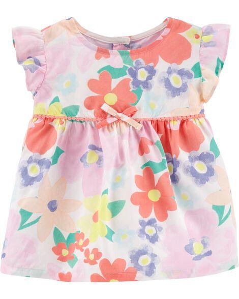 Floral Crocheted Poplin Dress